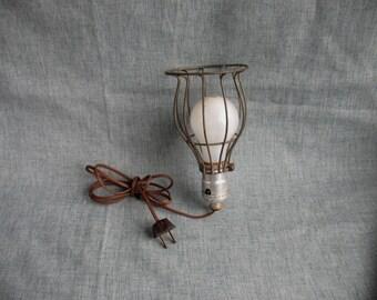 Vintage Metal Light Bulb Cage & Light Industrial Shop Works Home Decor and More