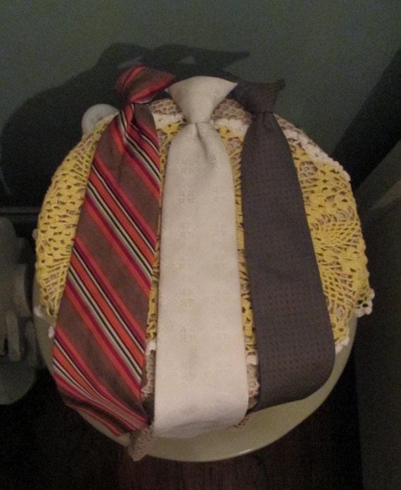 60s Hipster Neckties Clip On 3 Different Patterns / Orange Stripes Necktie / Vintage White