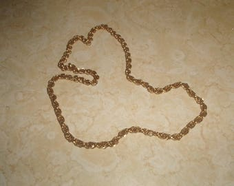 vintage necklace goldtone open link chain