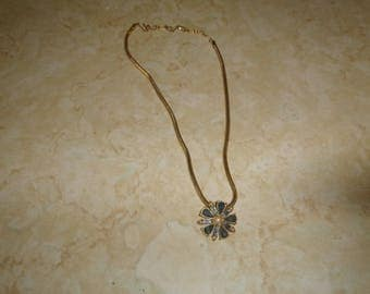 vintage necklace goldtone chain blue glass rhinestones faux pearls flower pendant
