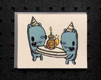 birthday bear screen printed birthday card, snail cake card, cute birthday card, bear birthday card, kids birthday card