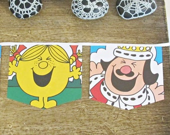 Little Miss Sunshine Bunting. Mr Men Banner Garland Boys Girls Children Gift. Nursery Baby Shower Homewares Decor Birthday. Handmade New