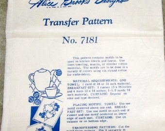 Vintage 1940s Hot Iron Embroidery Transfer Mail Order Craft Pattern Alice Brooks 7181 Kitchen Towel Motifs, China with Fruit, Uncut Unused