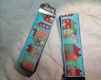 Houses Jacquard Woven Print Ribbon Key Fobs on 1 /1/2 wide webbing