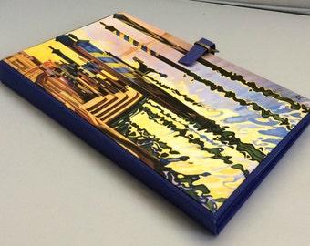 Padfolio - Handmade notepad holder - Vintage travel theme - Venice - Buckle closure