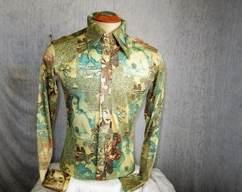 70s M Michael Low Nylon Knit Men's Big Collar Shirt Green Ladies Print