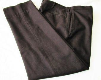 "60s 34"" x 27"" Narrow Leg Wool Pants Dark Brown"