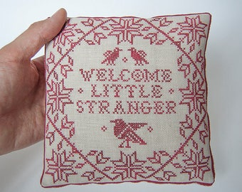 PDF Welcome Little Stranger cross stitch patterns by Modern Folk at thecottageneedle.com monochromatic nursery new baby