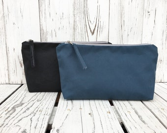 Large Waxed Canvas Pouch, Zipper Toiletry Bag, Vegan Make Up Case, Cosmetic Storage, Unisex Coin Purse, Water Repellent Travel Bag