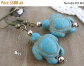 Last Chance Sale Turquoise Turtles // Antiqued Brass Dangle Earrings // Beachy // Turtle Lover // Turquoise Earrings // Mixed Metal // Rose