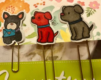 "Planner Guard Dogs collection ""Comet, Buddy and Sadie"" 3 planner clips will fit most planners, Bibles, books, or office/classroom needs"
