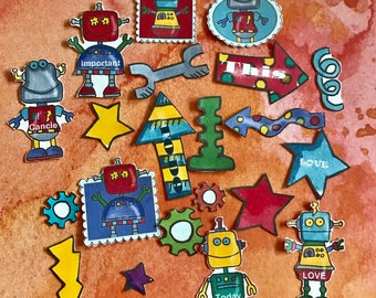 Nerdy Girl Robots huge lot of 21 planner stickers, will fit most planners
