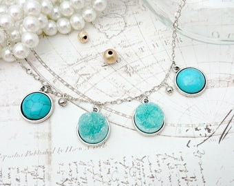 Druzy with Turquoise Cabochon Necklace  - Druzy Necklace, Turquoise Necklace, Druzy Jewelry