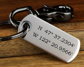 Mens Personalized Custom Coordinates Keychain, Boyfriend Gift, Husband Gift, ANY TEXT 45 Char, Engraved Stainless Steel Made in USA!