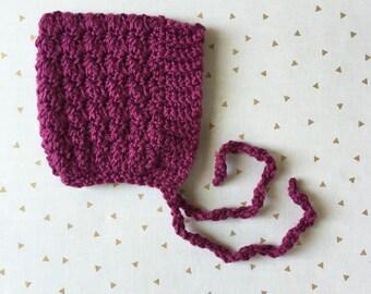 BELL crochet pixie baby bonnet - raspberry  - MADE to ORDER