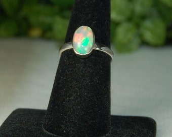 Opal Ring, Size 7, Rainbow Colors, Welo Opal, Sterling Silver, October Birthstone, Ethiopian Opal, Natural Opal, Rainbow Opal