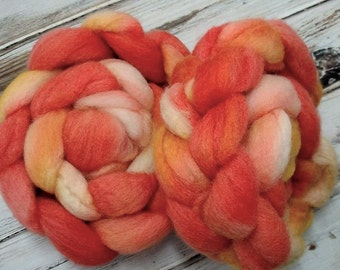 Chaotic Sunrise 4oz BFL Wool Blue Faced Leicester Spinning Fiber Combed Top Roving Orange Yellow
