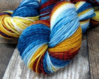 Exploding TARDIS Licorice Twist Merino DK Light Worsted 4oz 280yds Blue Yellow Rust