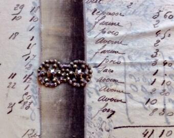 Handmade Antique French Ombre Silk Velvet Bracelet w/ Ciseled steel 1800s buckle in star motif. Grey Velvet, sparkle Christmas gift