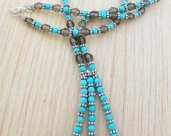 Turquoise Pendant smoke pendant Smoke and turquoise pendant mothers day necklace turquoise necklace smoke necklace present gift
