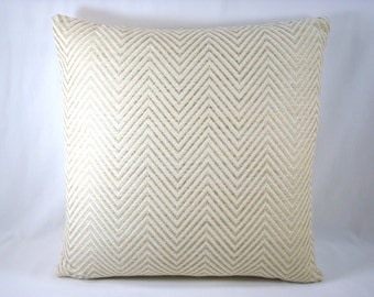 Robert Allen Herringbone Pillow Beige and Gold Pillow  Designer Accent Toss Pillow Cover 18x18