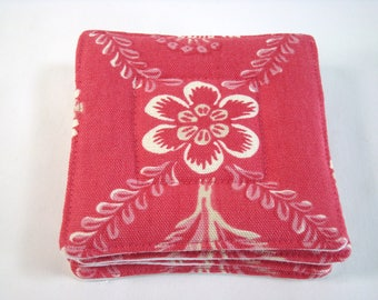 French Fabric Coasters Set of 4 Pierre Deux Fabric Coasters Raspberry and Linen Beverage Coasters