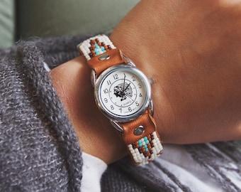 BCW-1,handmade adjustable beaded cuff watch