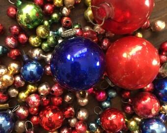 Vintage Feather Tree Mercury Glass Bulbs Ornaments Garland Beads - Christmas