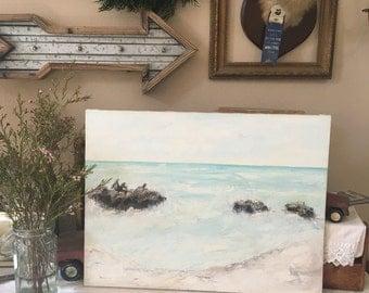 Beautiful Vintage Beach Ocean Painting - Sea Lions