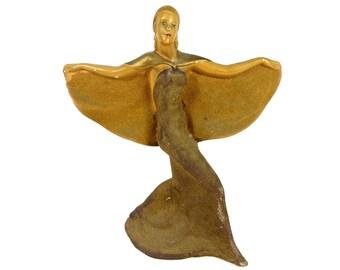 Figurine Female Deco Rare Vintage Woman Elegant 1930s Signed Royal Art Pottery