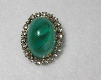 Vintage Realistic Faux Emerald Pin with Rhinestones