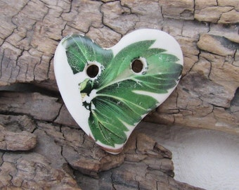 Green Leaf Folk Heart Ceramic Button