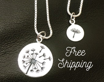 Dandelion Mother Daughter Necklaces - Mommy and Me Necklaces - Mother Daughter Jewelry - Dandelion Necklace - Set of 2 - Mothers Day Gift