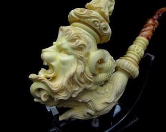 Lion in Reverse Dragon Claw Turkish Block Meerschaum Pipe w/ Lid Massive 1005