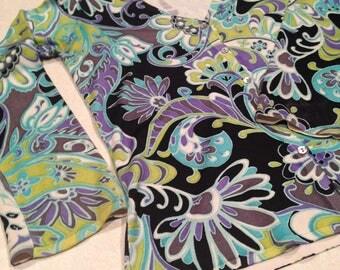 Vintage Dana Buchman Flower Print Cardigan Sweater