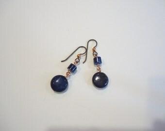 Lapis Earrings, Lapis Copper Wire Wrap Earrings