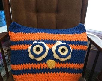 Huge Owl Pillow, Blue & Orange