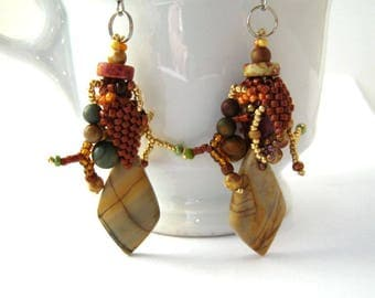 Boho earrings Boho jewelry Brown earrings Gift for women Jasper earrings Natural stone earrings, Rustic earrings Freefrom beadwork