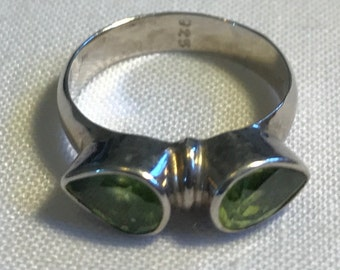 Sterling Silver Green Stone Ring-Size 5 3/4