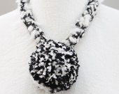 Black and White Fuzzy wool Giant Pom-Pom pendant necklace choker