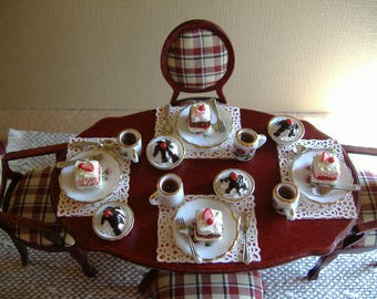 Dollhouse Miniature 1:12 Scale 4 Coffee Cups, Cake Plates And Ice Cream With Silverware