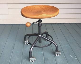 Industrial stool, metal base stool, vintage metal stool, guitar player stool, computer stool, coffee shop stool, cherry stool, garny