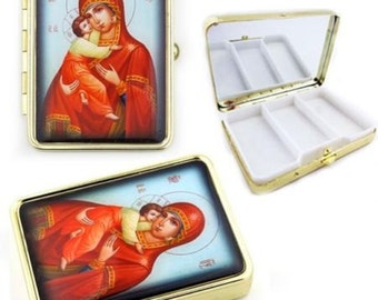 Madonna & Jesus Christ Child. Russian Icon Keepsake Pill Box w Mirror-   2-4 days shipping time to most USA by USPS  mail  with tracking.