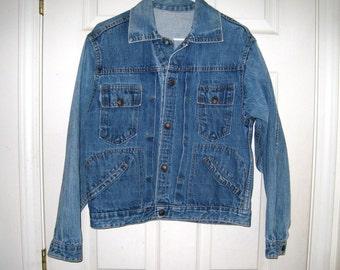 Vintage 1960s JC Penney Pleated Front Blue Denim Mens Jacket, Sz 40 Chest, Clean, Nice, Vintage Ranch Wear