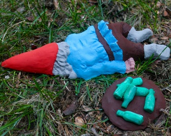 Zombie Gnomes: Passed Out Pat with Beer Bottles