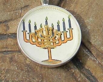 Hannukkah Menorah, Chanukiah, Jewish Gift, Judaic Jewelry, Judaica, Holiday Jewelry, Seven Branch Candelabrum Necklace, Menorah Pendant