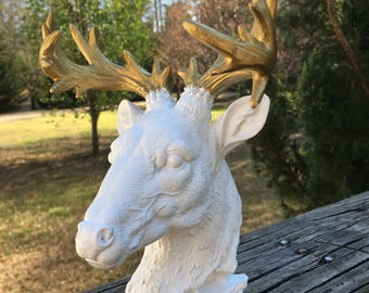 Up Cycled Moose Head--Painted White Gold Antlers--Hollywood Regency--Group Decor Piece--Color Pop