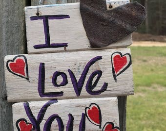 """Reclaimed Wood Sign--Shutter Sign--""""I Love You""""--Rustic Salvaged Wall Art--Friendship Reclaimed Wooden Sign--Surprise Sursey Gift"""