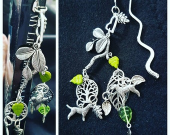 Sale was 22 now 20uk Kate Bush Inspired by Hounds of Love song ... Smaller Book Jewellery Book Mark with tree and hound charms