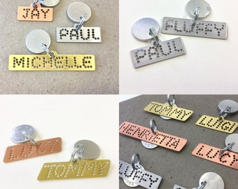 Personalized dog ID tag for dogs pink copper silver steel yellow brass